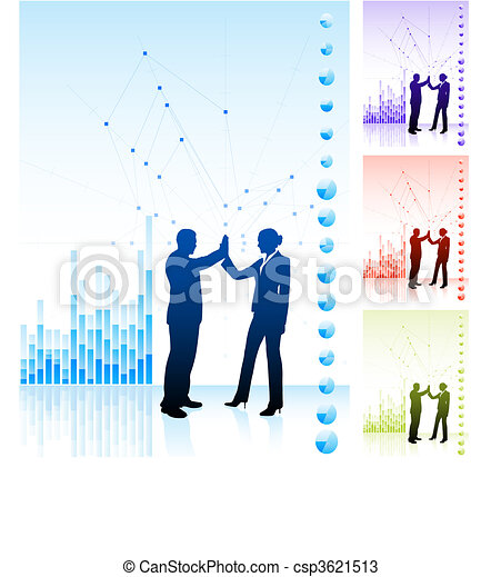 business team high five on business chart background - csp3621513