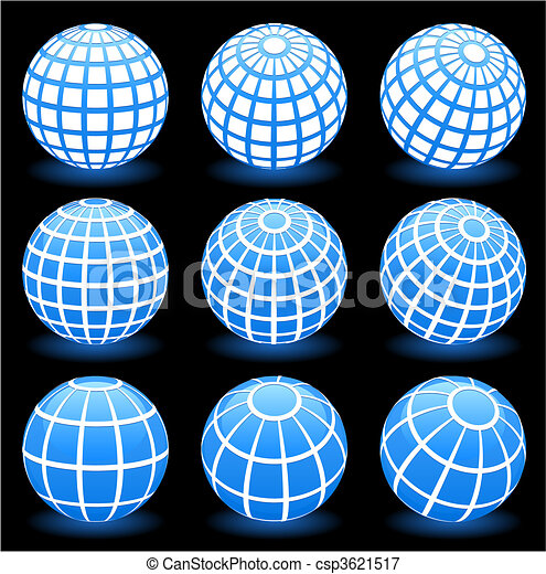 globe wire frame symbols - csp3621517