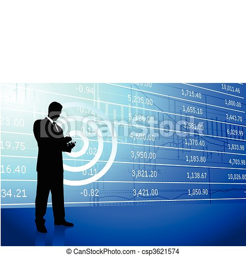 Business man on background with stock market data - csp3621574
