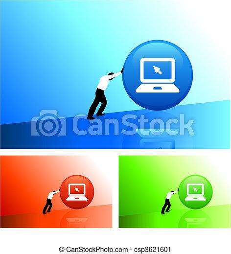 businessman pushing icon uphill - csp3621601