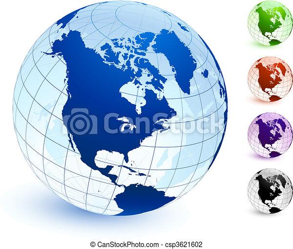 Multi Colored Globe set - csp3621602