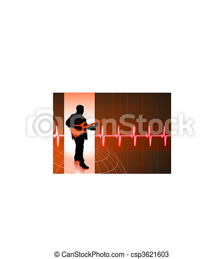 business people on pulse background - csp3621603