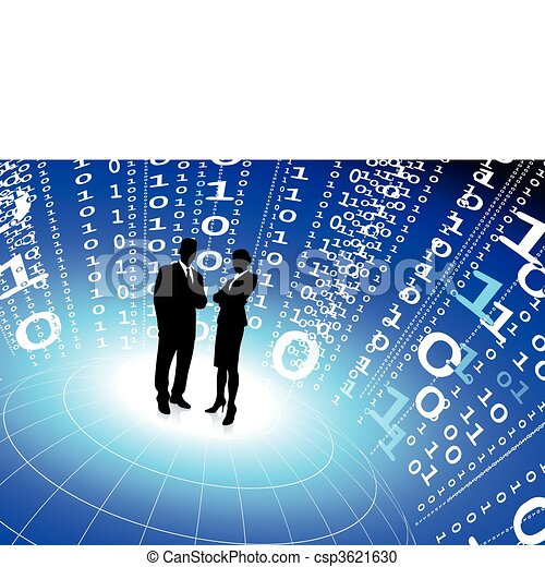 business team with binary code internet background - csp3621630
