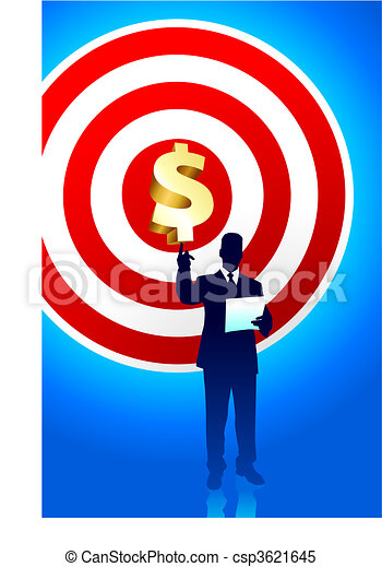 Target profits background with business executive - csp3621645