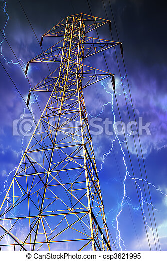 Electricity Pylon with Lightning in Background. - csp3621995
