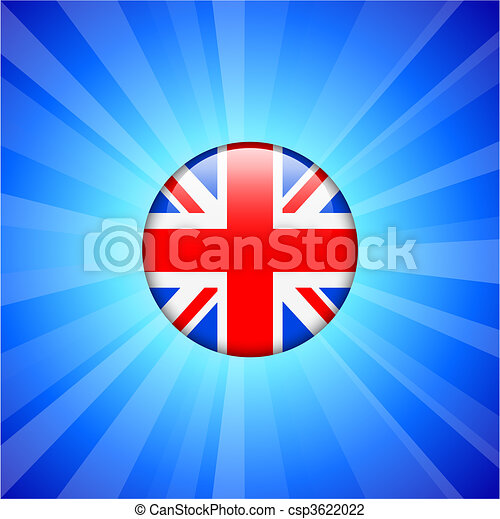 Britain Flag Icon on Internet Button - csp3622022