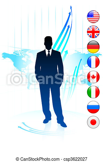 Businessman Leader on World Map with Flags - csp3622027