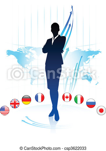 Businesswoman Leader on World Map with Flags - csp3622033