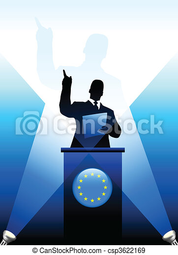 European Union Leader Giving Speech on Stage - csp3622169