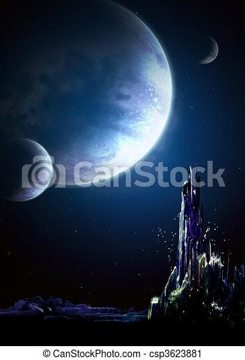 Landscape in fantasy planet - csp3623881