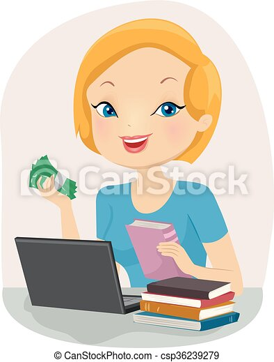 Vectors illustration of girl sell used books online for How to sell drawings online