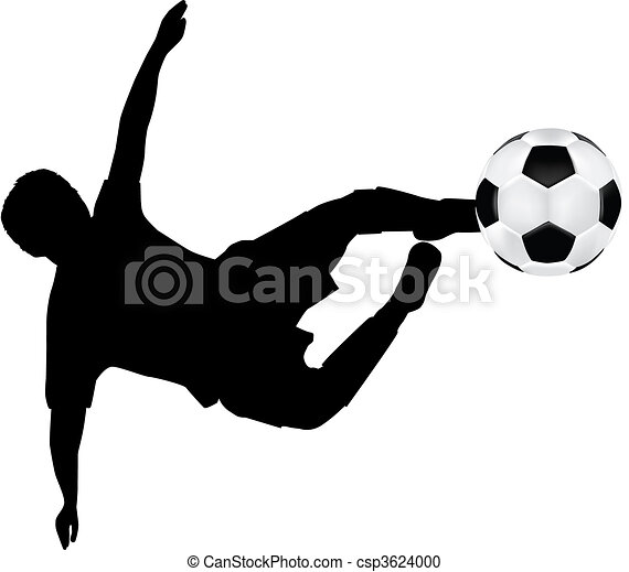 football silhouette of flying kick - csp3624000