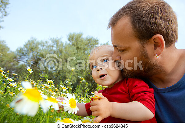 father in early thirties and son - csp3624345