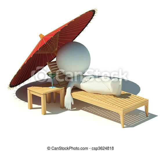 3d small people - rest on a chaise lounge - csp3624818