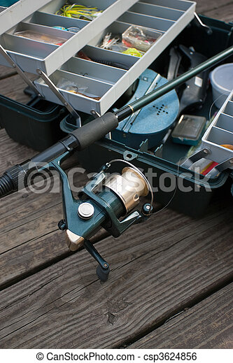 Fishing Rod and Tackle Box - csp3624856