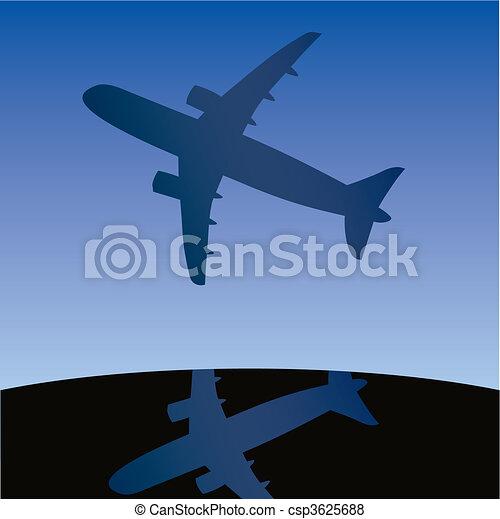 Airplane aero aviation silhouette.  - csp3625688