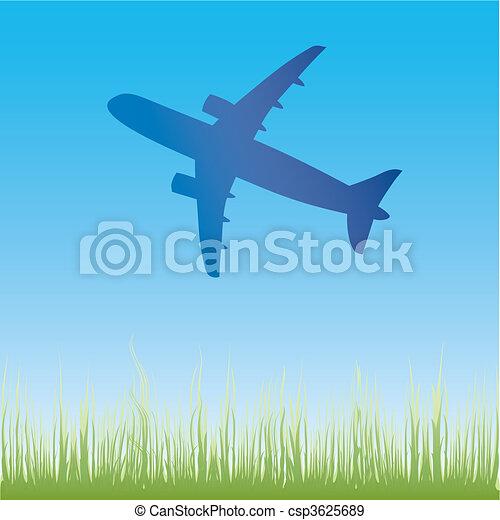 Airplane aero aviation silhouette.  - csp3625689