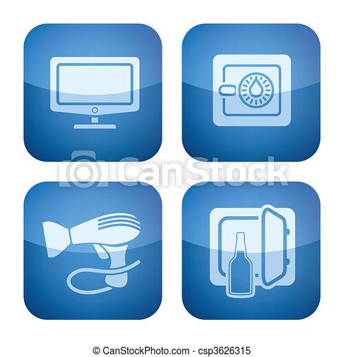 Cobalt 2D Squared Icons Set: Hotel - csp3626315
