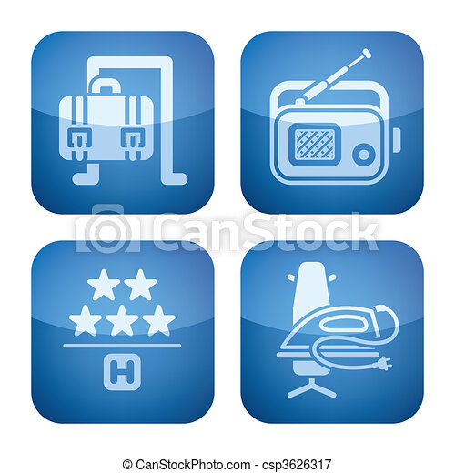 Cobalt 2D Squared Icons Set: Hotel - csp3626317