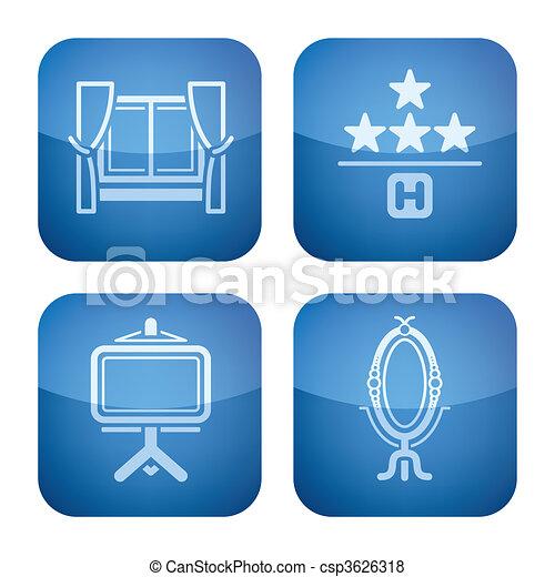 Cobalt 2D Squared Icons Set: Hotel - csp3626318