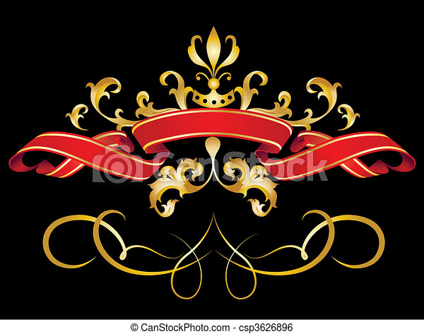 Red Banner with gold strokes - csp3626896