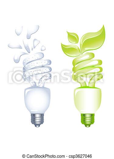 Concept of Energy saving bulb - csp3627046