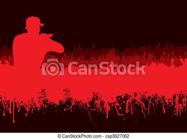 silhouette rock concert crowd - csp3627062