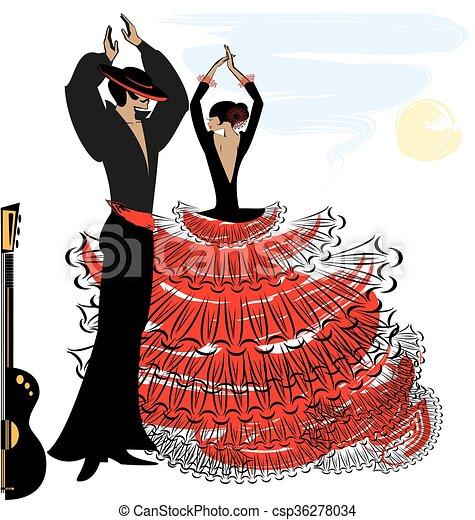 Vecteurs de image flamenco couple r sum r sum ciel - Dessin danseuse de flamenco ...
