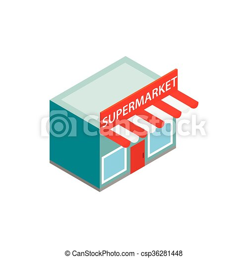 Supermarkt gebäude clipart  EPS Vektor von gebäude, isometrisch, stil, supermarkt, ikone, 3d ...