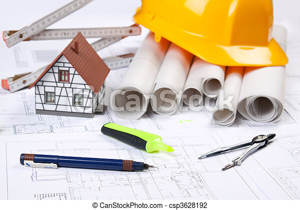 Stock photo of architecture tools on blueprints csp3628192 for Architecture design tools free