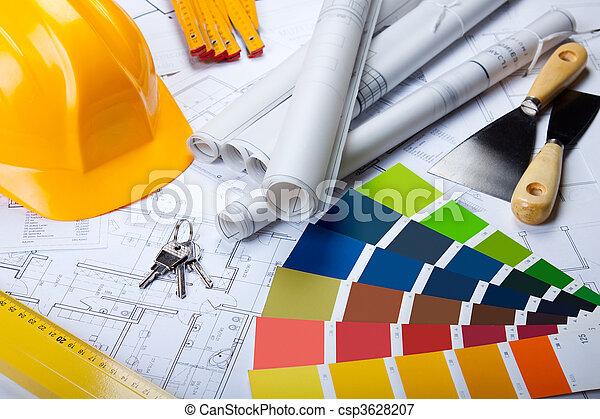 Blåkopior, redskapen, arkitektur - csp3628207