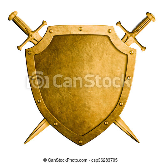 Stock Illustration of gold medieval coat of arms shield ...