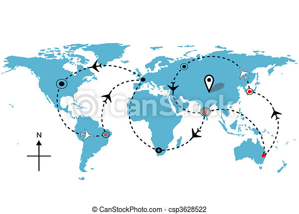 World airplane flight travel plans connections - csp3628522