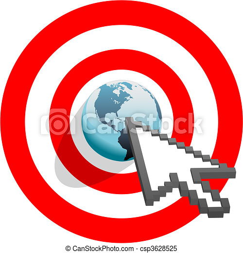 Internet arrow clicks targeted world bulls eye target - csp3628525