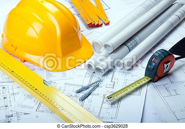 Blåkopior, redskapen, arkitektur - csp3629028