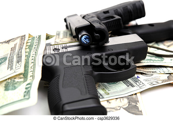 Handguns And Cash - csp3629336