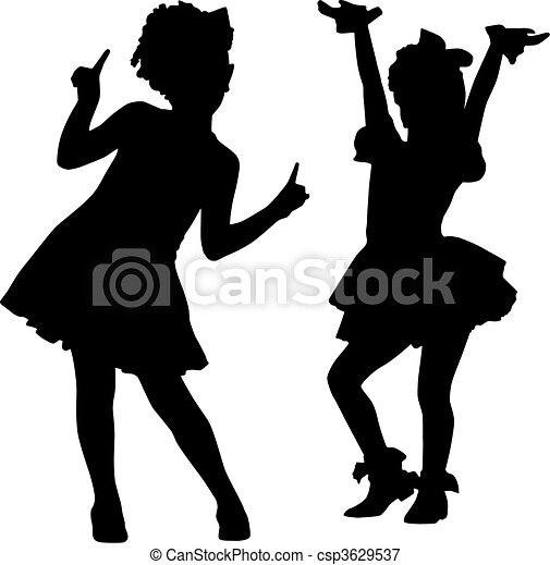 Vectors Illustration Of Happy Silhouette Children
