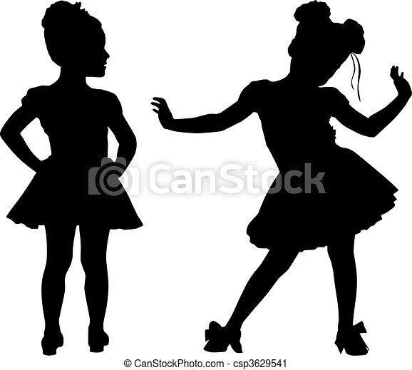 Happy silhouette small children - csp3629541