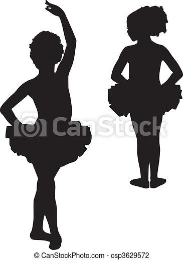 Happy silhouette ballerinas - csp3629572