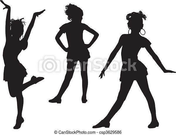Joy silhouette children - csp3629586