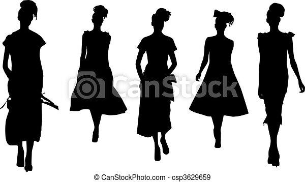 Silhouette fashion girls - csp3629659