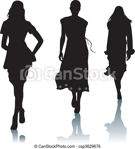Silhouette fashion woman - csp3629676