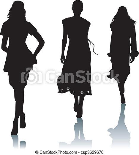 Silhouette fashion woman - csp3629676