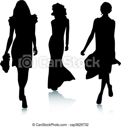 時裝, 黑色半面畫像, 婦女 - csp3629732