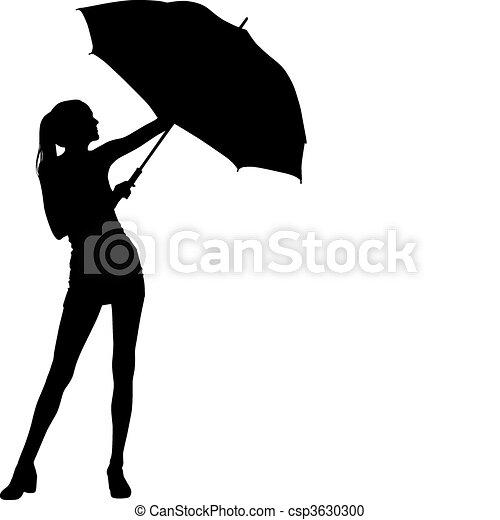 Silhouette girl whit umbrella - csp3630300