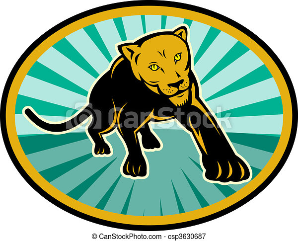 lion or cougar crawling towards you - csp3630687