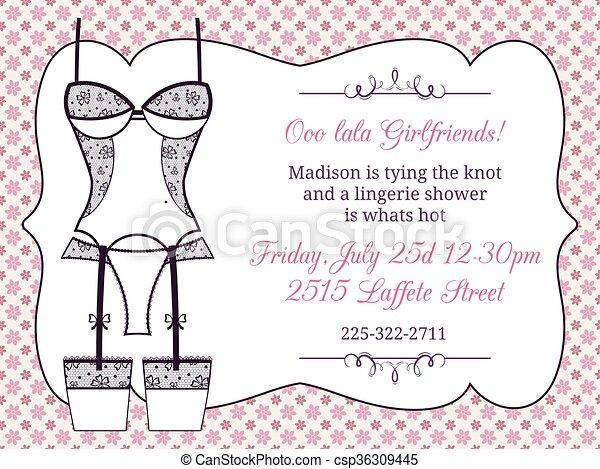 EPS Vector of Lingerie bridal shower invitation. Lingerie fashion ...