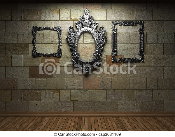 illuminated stone wall and frame - csp3631109