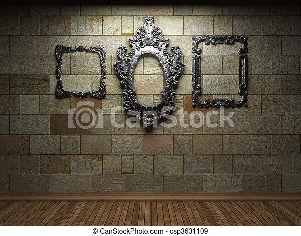 illuminated stone wall and frame   - csp3631109