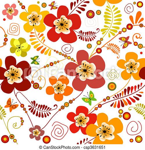 Vivid seamless floral pattern - csp3631651